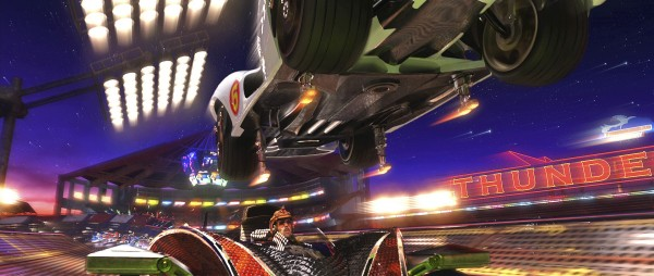 "A race scene with EMILE HIRSCH as Speed Racer in the Mach 6 jumping over CHRISTIAN OLIVER as Snake Oiler from Warner Bros. Pictures' and Village Roadshow Pictures' action adventure ""Speed Racer,"" distributed by Warner Bros. Pictures.  PHOTOGRAPHS TO BE USED SOLELY FOR ADVERTISING, PROMOTION, PUBLICITY OR REVIEWS OF THIS SPECIFIC MOTION PICTURE AND TO REMAIN THE PROPERTY OF THE STUDIO. NOT FOR SALE OR REDISTRIBUTION."